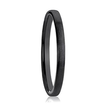 Women's Domed Black Ceramic Wedding Ring With Brushed Finish - 2mm