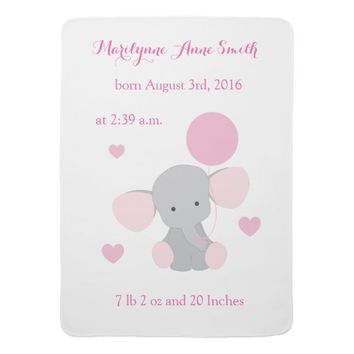 Elephant Baby Girl Birth Stats Pink Gray Chevron Swaddle Blanket