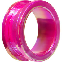 "1"" Iridescent Pink Acrylic Screw Fit Tunnel Plug"