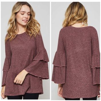 Mauve Ruffled Tunic Top