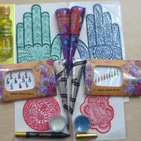 Henna Kit - Ready to use For Fundraising School Party Wedding Bridal Decor - Black Henna cones - Bindi - Glitter - Stencils - Henna Oil - FS