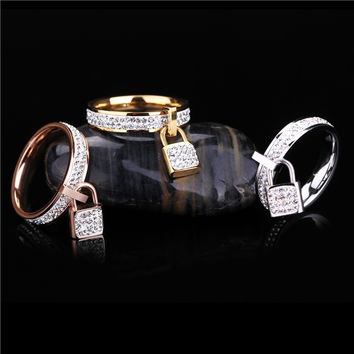 Padlock Charms Girls Finger Rings