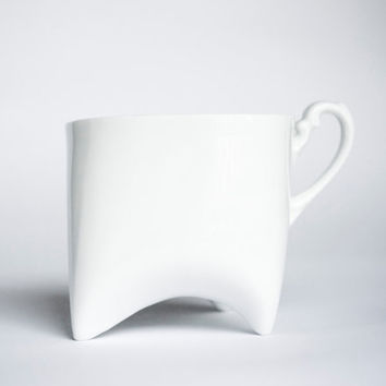 Ceramic mug - white porcelain mug, contemporary ceramic cup handmade coffee cup or tea cup by Endesign