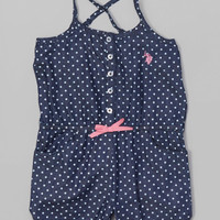 U.S. Polo Assn. Denim & Pink Lemonade Polka Dot Romper - Girls | zulily