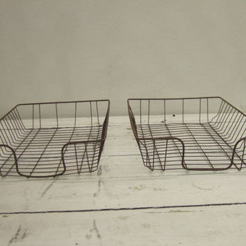 2 Vintage Industrial Wire Basket - Office Supply - File Organizer - Mid Century