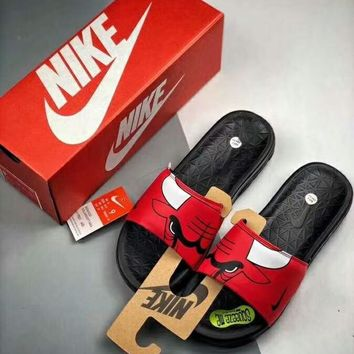 NIKE NBA Series Chicago Bulls Men s and Women s Slippers Sandals c22cb76c6af