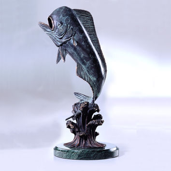 Bull Mahi Mahi Decorative Brass Sculpture on Marble Base by SPI-HOME