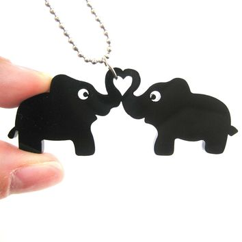 Kissing Elephant Heart Shaped Pendant Necklace in Black Acrylic | DOTOLY