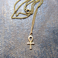 Vintage 80's Ankh, Key of Life,  Charm Necklace XS