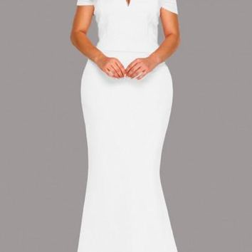 White Bandeau Zipper Off Shoulder Backless Plus Size Banquet Prom Party Maxi Dress