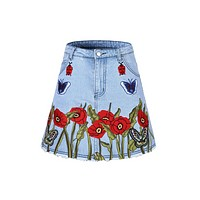 GUCCI new women's G family with butterfly embroidered cowboy half body