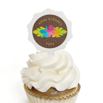 Luau - Personalized Everyday Party Cupcake Pick and Sticker Kit - 12 ct