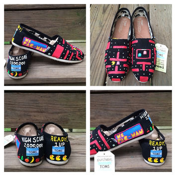 Ms Pacman Toms Shoes Custom Atari Video Game Glow in the Dark Hand Painted Nerd Geek Gamer Toms