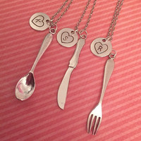 Spoon Fork And Knife Best Friends Jewelry WITH INITIALS - Sister Necklaces - Sister Jewelry - Best Friends Jewelry - Utensil Jewely