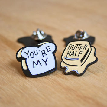 You're My Butter Half 2 Piece Enamel Lapel Pin - Best Friend Pin - BFF - Jewelry - Austin Jewelry - Austin Texas