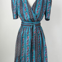 Vintage 1980 Blue Floral Dress by Lizzy & Johnny, Large