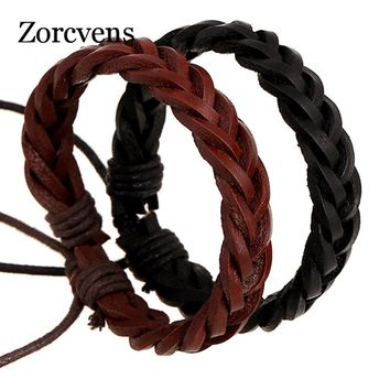 ZORCVENS Genuine Leather Wrap Bracelet Handmade Vintage Punk Jewelry Women Men's Cuff Bracelet Wrist Band Bangles