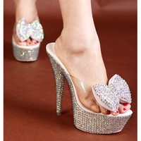White Sparkly High Heel Platform Wedding Bridal Party Sandals Shoes SKU-1090899