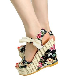 Elegant Summer High Heel Open Toe Wedge Sandals