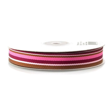 Rainbow Horizontal Striped Grosgrain Ribbon, 25-yard, Burgundy/Pink/Brown/Azalea