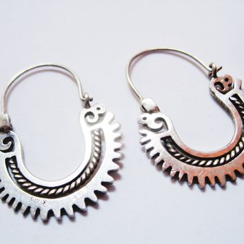 Small Sterling Silver Mexican Hoop Earrings