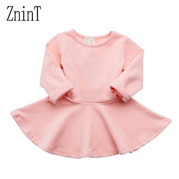 Candy Color Baby Girls Dress Cotton Newborn Infant Baby Clothes 1 Year Birthday Dress Spring Autumn 2017 New Child Tutu Dress