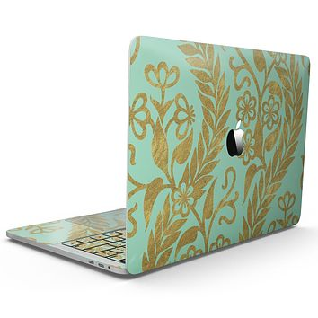 Mint and Gold Floral v9 - MacBook Pro with Touch Bar Skin Kit