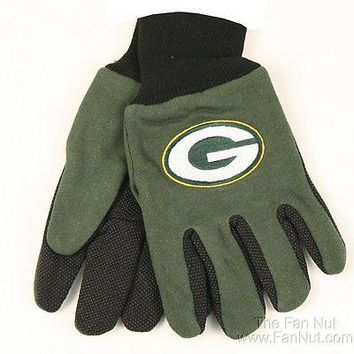Green Bay Packers Two Tone Pair GRIP Gloves Sport Work Utility Football