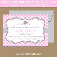 Elephant Baby Shower Invitations - Pink and Grey Elephant Baby Shower Invites Instant Download Girl Baby Shower Invites - Elephant Birthday