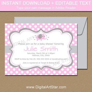 Best Baby Girl Elephant Baby Shower Invites Products on Wanelo