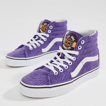 Vans Exclusive To Asos Purple Corduroy Sk8-Hi Trainers at asos.c f1e7576be