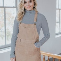 Corduroy Overall Dress, Khaki