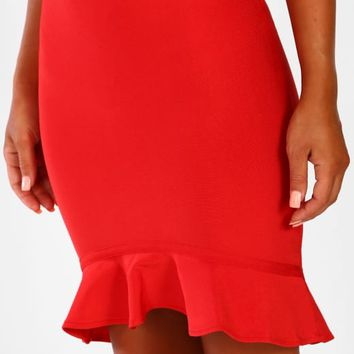 Cloud 9 Red Frill Hem Bandage Mini Skirt