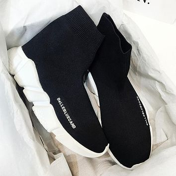 Balenciaga brand wild over the knee boots women's boots women's shoes sports stretch boots  Black(full white sole)