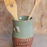 Stoneware Jar, pottery keramic kitchen housewares storage home decor decorative utensil holder in Sage Green and Brown