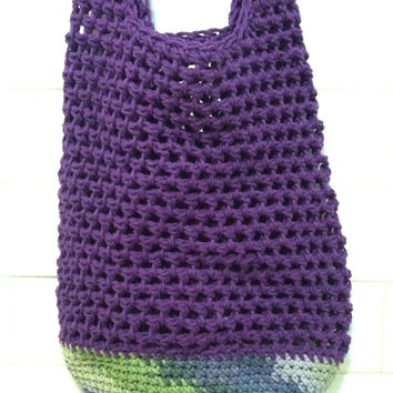 Purple Sling Bag, Reusable Grocery Bag, Cross Body Sling Bag, Boho Grocery Tote, Purple Hobo Bag, Cotton Market Bags, Crochet Beach Bag
