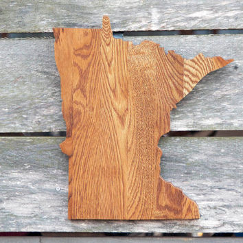 Minnesota state shape wood cutout sign wall art. Handcrafted, repurposed Oak flooring 14x17 in. Wedding Country Chic Cabin Rustic Gift Decor