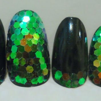 "Handpainted Stick-On Nails - Dark Teal with Iridescent Glitter ""Scales"""
