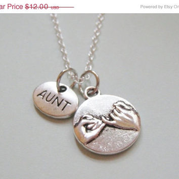 Summer Sale Save15% Pinky Promise Pinky Swear Aunt Necklace