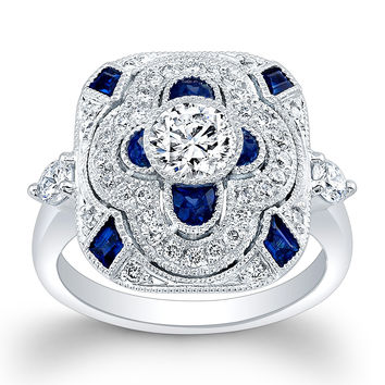 Ladies Platinum antique custom engagement ring with 1ct Round Brilliant White Sapphire center 0.50 ctw G-VS2 diamonds 0.50ct Blue sapphire