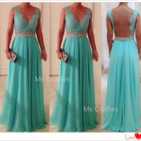 Custom Made Bluce Chiffon Long Lace Prom Dresses, Bridesmadi Dresses, Evening Dresses, Formal Dresses, Wedding Party Dresses
