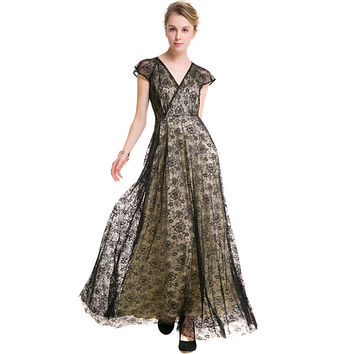 2017 Women Robe Sexy Fit and Flare Cap Sleeve V-Neck Wrap Dress See-through Crochet Flower Lace Maxi Dress For Party