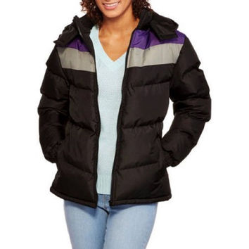 Climate Concepts Women's Chevron Hooded Puffer Coat, Large, Black/Purple, 4X