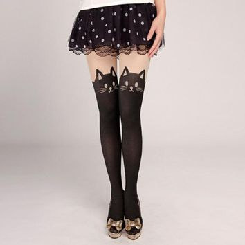 Women Tights Cotton Silk Stockings Pantyhose Cat Rabbit Girl Sexy Slim Cats Lovely Female Tight