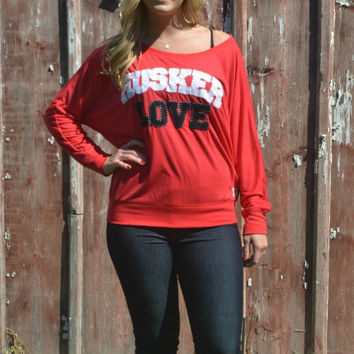 "PIXI CHIX Red ""HUSKER LOVE"" Top"