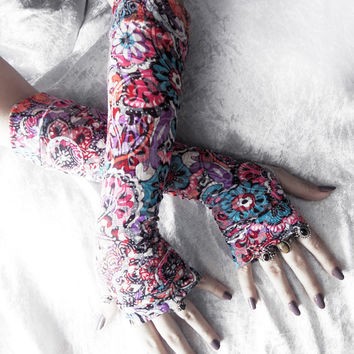 Urban Garden Arm Warmers - Purple Turquoise Blue Orange Black Red Pink Floral White - Yoga Gothic Gypsy Bohemian Cycling Light Boho Goth