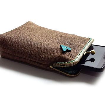 Brown Smartphone Case / Fabric Cigarette Case with pocket inside - Upholstery fabric  - Antique Bronze Frame