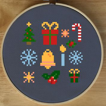 Modern Christmas Sampler Cross Stitch Pattern