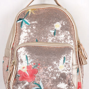 Sequin Floral Embroidery Mini Backpack | UrbanOG