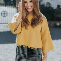Pom Pom Cropped Sweater, Mustard